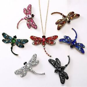 Fashion Brooch Pin Crystal Dragonfly Necklace Pendant Long Chain Women Jewelry
