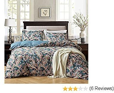 NEWLAKE Duvet Covet Set-3 Pieces Comforter Cover Sets (1 Duvet Cover + 2 Pillow Shams),Queen Size,Blooming Paisley Floral Pattern