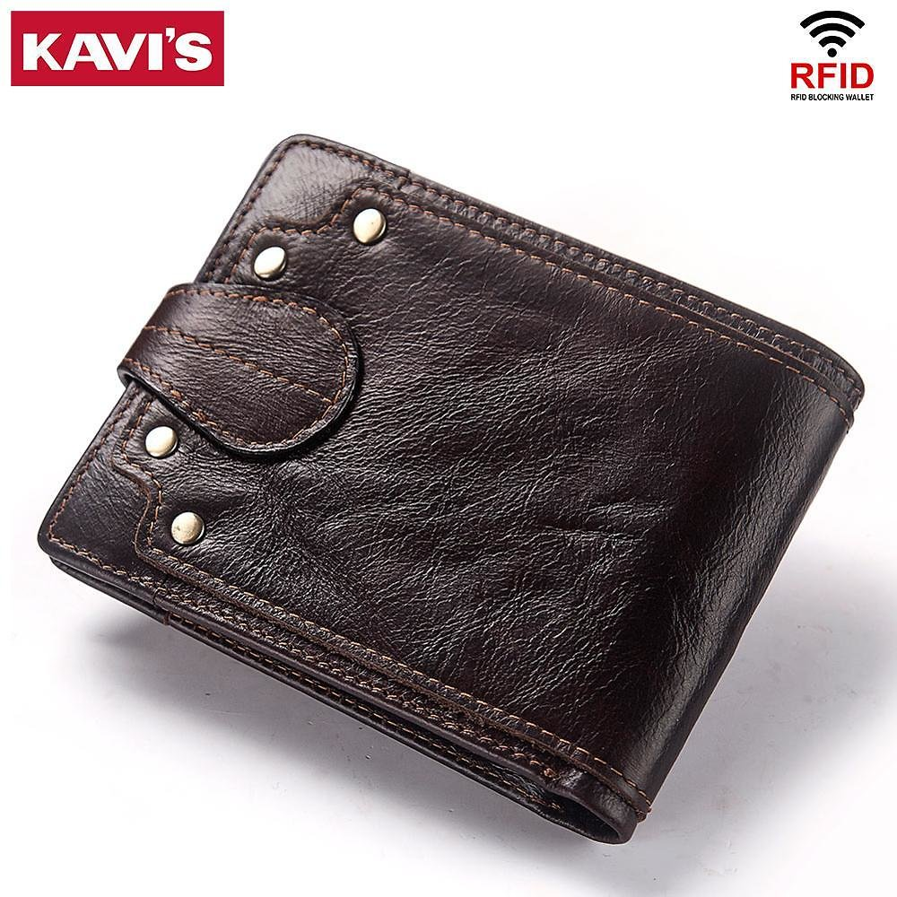US $14.81 42% OFF|KAVIS Genuine Cow Leather Male Wallet Men's Purse Small RFID Leather Perse Mini Card Holder Storage Walet Bag Hasp Coin Purse|Wallets| - AliExpress