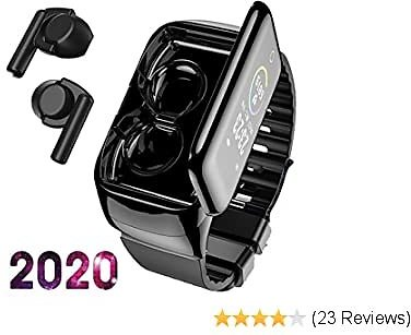 Smart Watch with Bluebooth Earbuds,Wireless Earphones Fitness Tracker Watch 2 in 1,Activity Bracelet with TWS Sleep Music Wristband Headset Heart Rate Blood Pressure