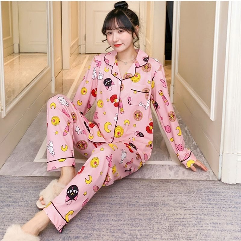 US $15.56 82% OFF|Spring Print Womens Home Wear Pink Long Sleeve Pocket Sweet Pajamas Sets Female Sleepwear 2020 Autumn Casual Ladies Home Clothes|Pajama Sets| - AliExpress