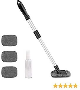 UP TO 30%OFF AstroAI Car Window Cleaner, 4 Microfiber Pads, Telescopic Handle Auto Inside Glass Wiper Kit, Gray