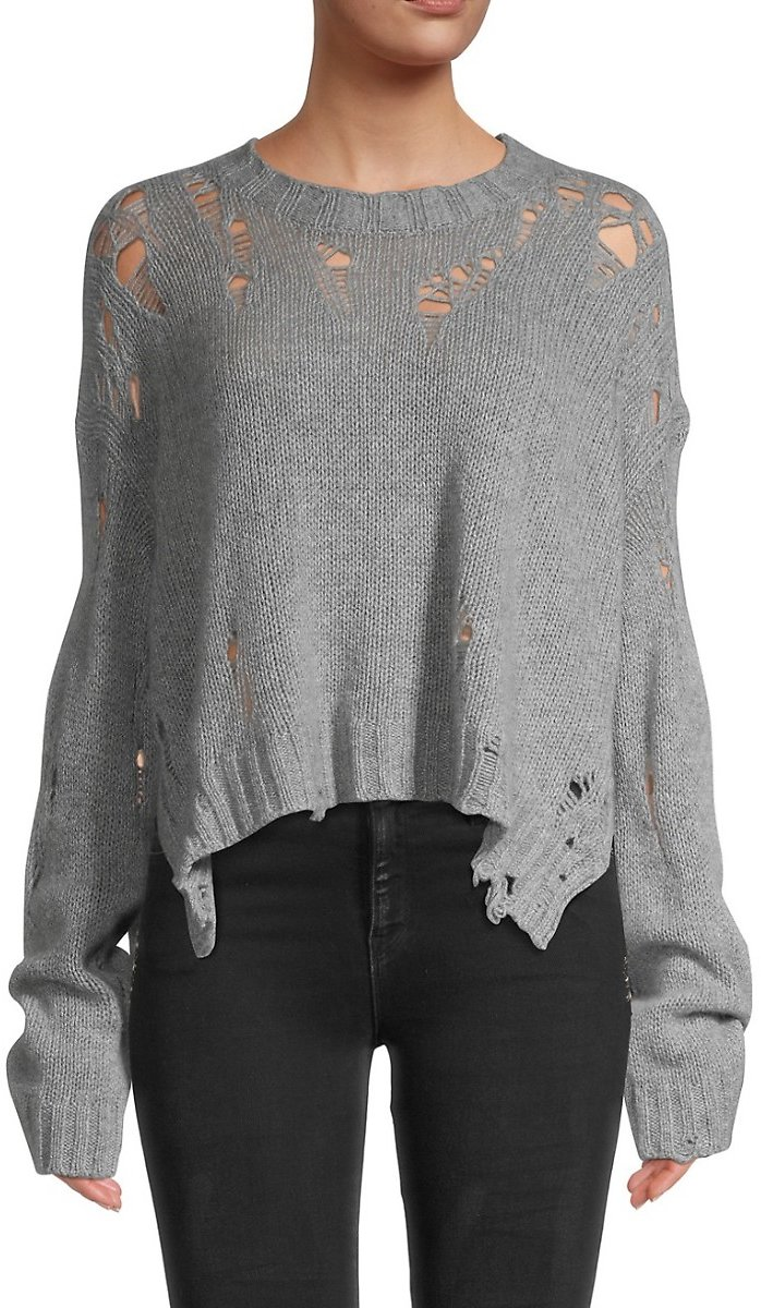 Cashmere Shredded Side Slit Sweater On SALE