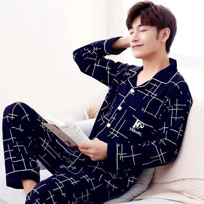 US $15.18 56% OFF|2020 Summer Casual Striped Cotton Pajama Sets for Men Short Sleeve Long Pants Sleepwear Pyjama Male Homewear Lounge Wear Clothes|Men's Pajama Sets| - AliExpress