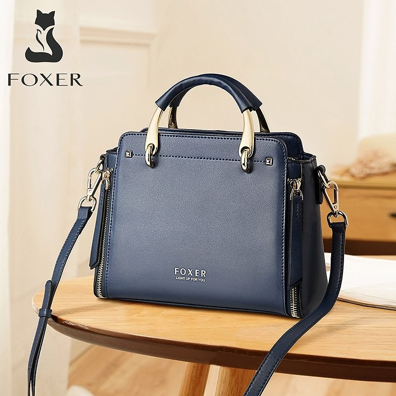 FOXER Elegant Gentlewoman Easy Commute Cross-body Handbag Cowhide Casual Shoulder Bag for Ladies Fashion Classical Design Totes