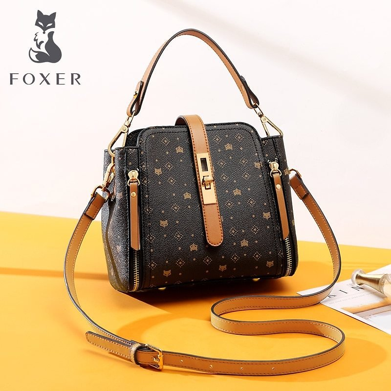 US $37.04 51% OFF|FOXER Female Handbag Large Capacity Commuter Style Fall Winter Bag for Women Classical PVC Purse Monogram Lady Shoulder Bags|Top-Handle Bags| - AliExpress