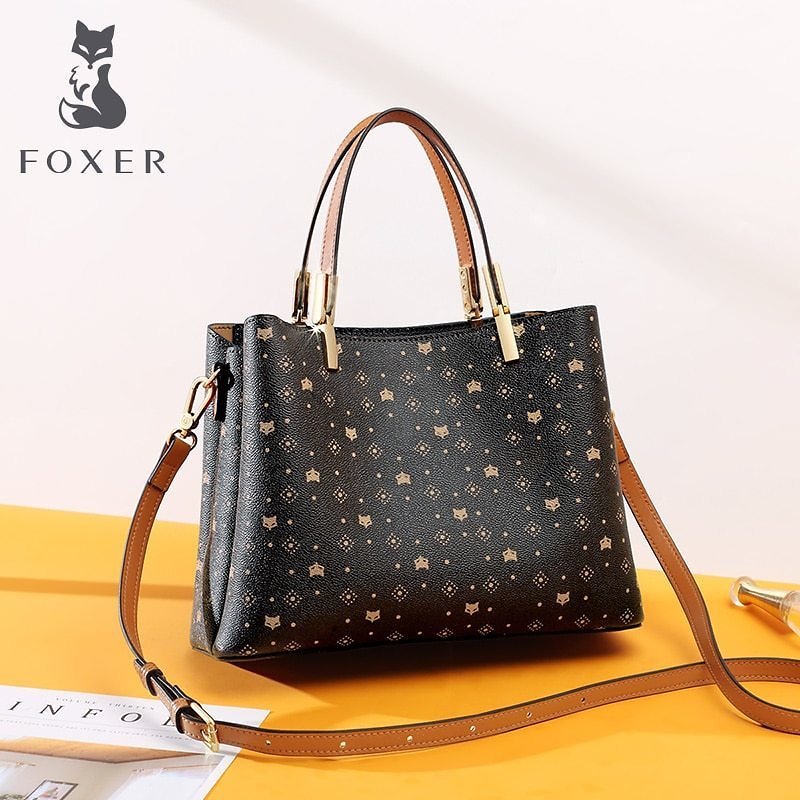 US $41.22 53% OFF|FOXER Signature Designer Top Handle Bag for Women 2020 Female Fall Winter Bag PVC Monogram Vintage Stylish Ladies Shoulder Tote|Top-Handle Bags| - AliExpress