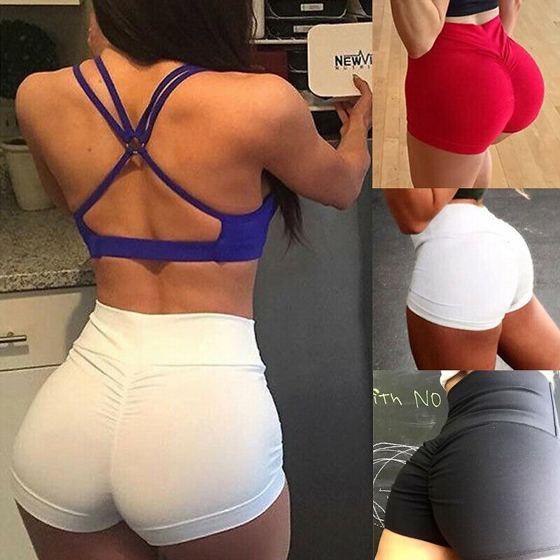 2020 Women Sexy High Waist Slim Running Sport Shorts Lady Summer Casual Solid Fitness Gym Skinny Fit Stretchy Short Pants