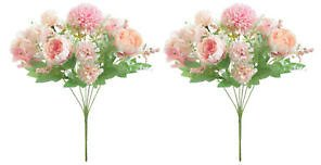 2x Peony Hand Flowers 13in for Tabletop Photo Prop Xmas Baby Shower Decor