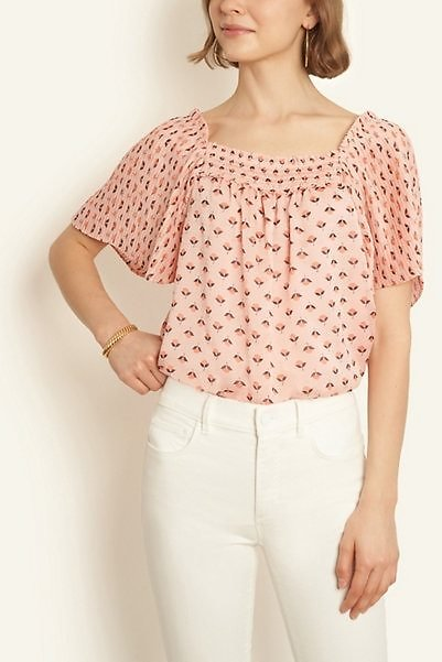 Floral Pleated Square Neck Top