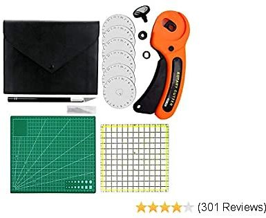 Rotary Cutter Kit, 45mm Rotary Cutter Tool Kit with 5 Extra Blades, Cutting Mat, Patchwork Ruler, Precision Knife, Craft Knife Ideal Craft Supplies Set for Sewing and Quilting