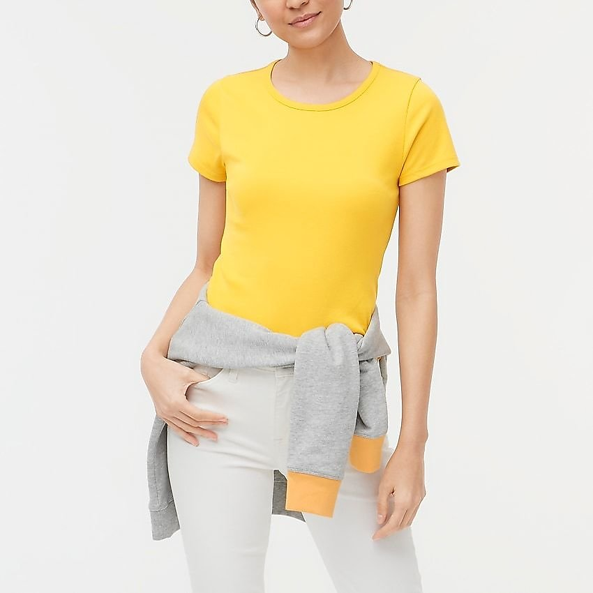 J.Crew Factory: Fine-rib Crewneck Tee For Women (2 Colors)