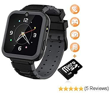 "Kids Smart Watch for Boys Girls-[SD Card Included] 1.57"" HD Touch Screen with 7 Games Music Player Alarm Clock Record Calculator Camera Flashlight for Children Toy Birthday Gift (Black)"