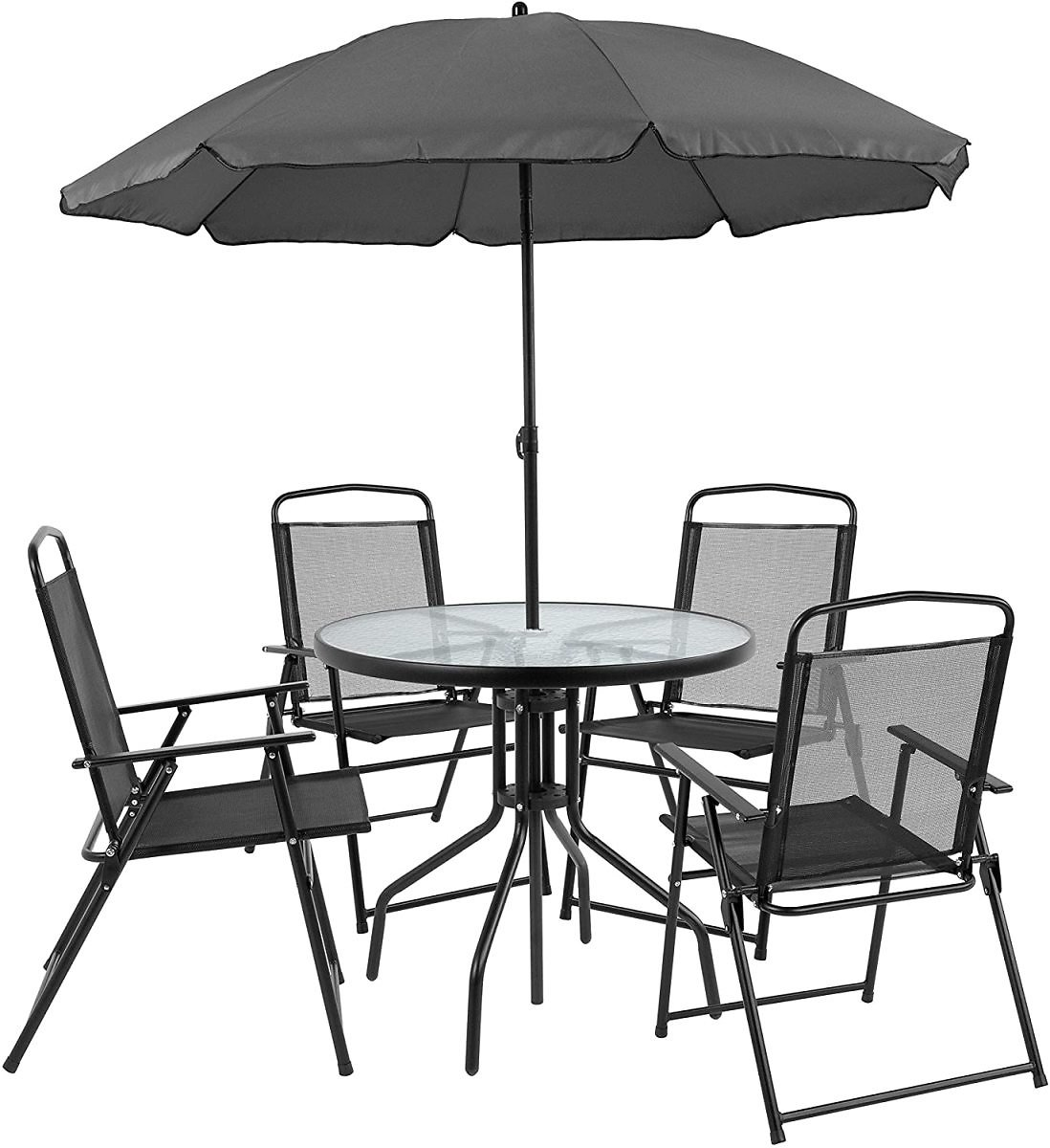 60% Discount - Flash Furniture Nantucket 6 Piece Black Patio Garden Set with Table, Umbrella and 4 Folding Chairs