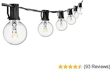 DGO String Lights G40 50FT With 50 Clear Bulbs for Indoor/Outdoor UL Certification Perfect for Backyard Porch Garden Pergola Market Cafe BBQ Tents Decks, Wedding Christmas Camping RV Globe Bulbs Decor