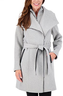 Vince Camuto Asymmetrical Belted Wrap Coat, Created for Macy's & Reviews - Coats - Women