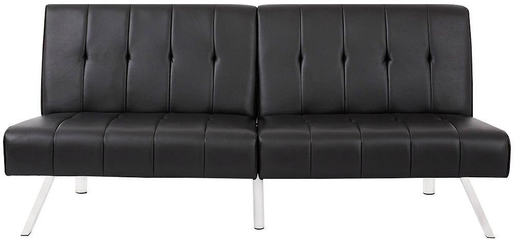 Boyel Living 35 In. Black Leather 3-Seater Queen Sleeper Armless Sofa Bed with Tapered Legs-BC-319