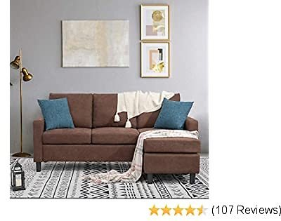Best Shintenchi Convertible Sectional Sofa Couch, Modern Linen Fabric L-Shaped Couch 3-Seat Sofa Sectional with Reversible