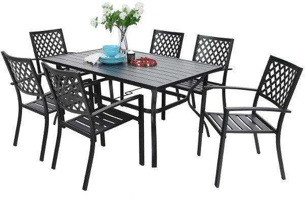 7 Pc Steel Outdoor Patio Dining Bistro Sets (Ships Free)