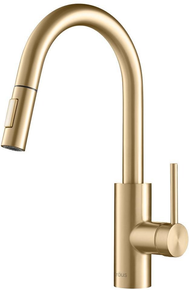 KRAUS Oletto Single-Handle Pull-Down Sprayer Kitchen Faucet in Gold-KPF-2620BB
