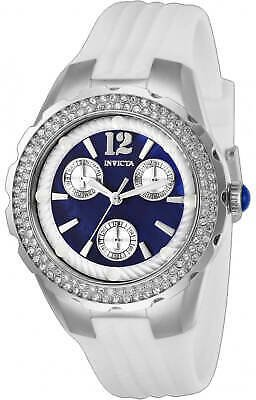 Invicta Women's Watch Angel Silver Tone Case Oyster Blue Dial Strap 29085 886678345663