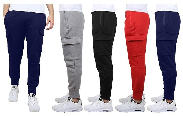 2-Pack Men's Heavyweight Cargo Fleece Jogger Sweatpants
