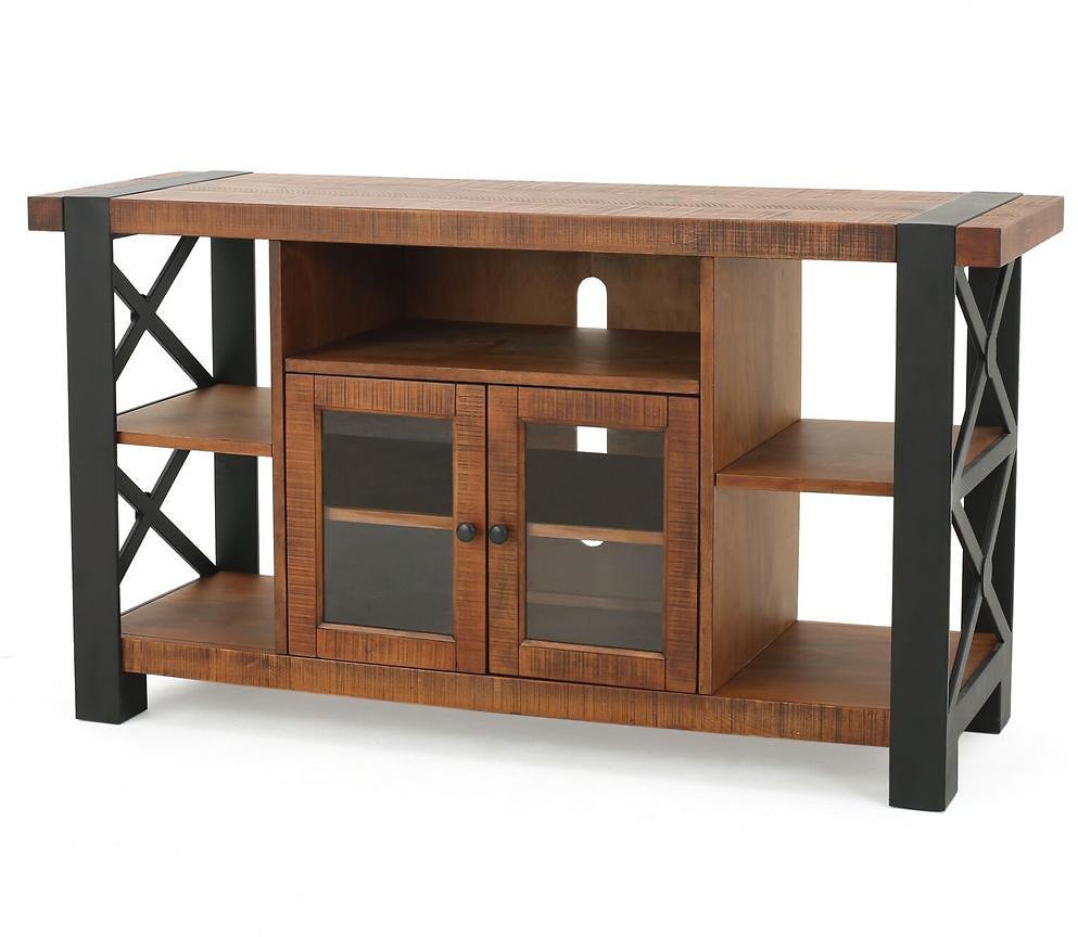 Noble House 55 In. Natural Wood TV Stand Fits TVs Up to 51 In. with Storage Doors-10878