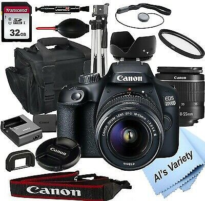 Canon EOS 2000D / Rebel T7 24.1MP DSLR Camera + 18-55mm Lens-18PC Bundle 4549292111859