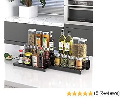 OGORI 3 Tier Expandable Spice Rack Organizer for Carbinet, Stainless Steel Step Shelf with Protection Railing (12.8~25.6inch), Black