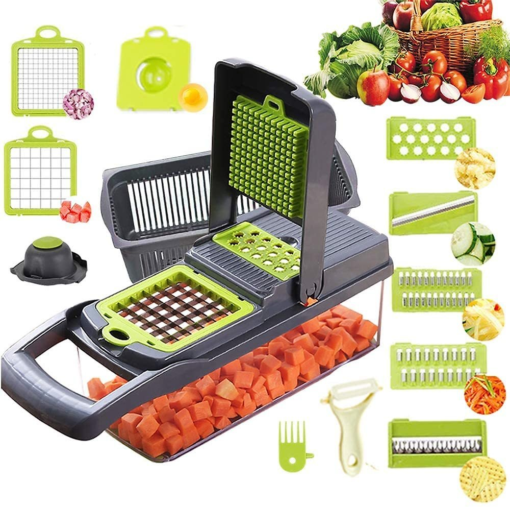 Vegetable Chopper Mandoline Slicer Cutter Chopper and Grater 11 in 1 Vegetable Slicer Potato Onion Chopper Veggie Chopper Dicer with Container Black