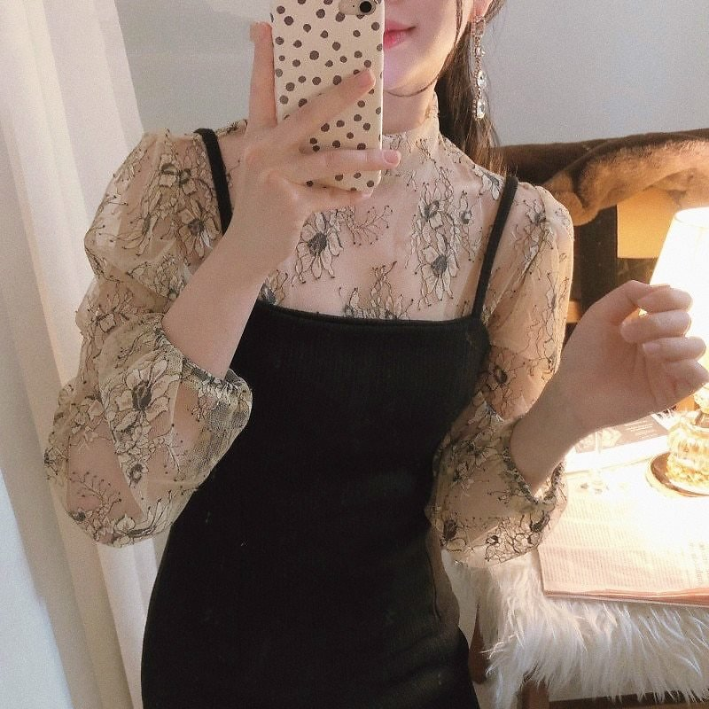 50% OFF Korean Retro Women Blouse Temperament Lace Flower Shirt Lady Stand Collar Long Sleeve Girls Blusas