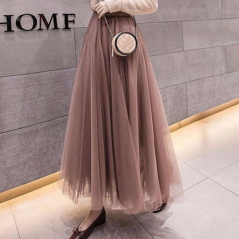 46% OFF|2020 Summer Tulle Skirts Womens Midi Pleated Skirts AliExpress