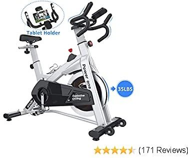 SNODE Indoor Cycling Exercise Bike Trainer With 35lbs Flywheel - Stationary Belt Drive Bike with High Weight Capacity, Tablet Holder, LCD Monitor for Professional Cardio Workout(Model: 8729 2019 New)