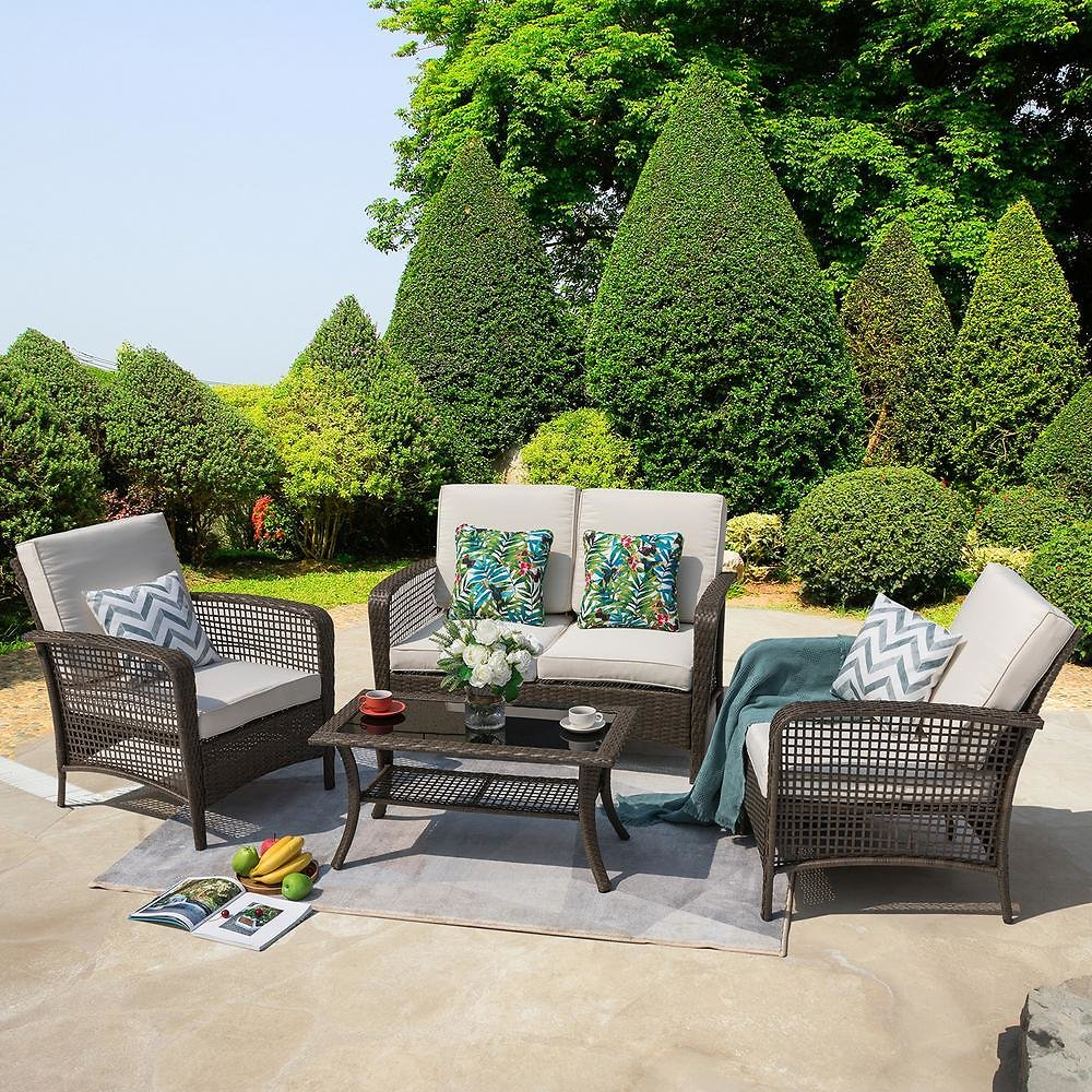 4-Pc Outdoor Wicker Sofa Set Conversation Set (F/S)