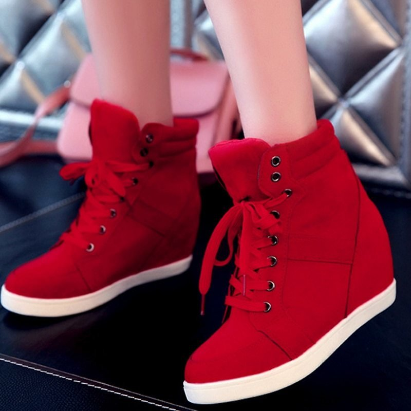 US $10.03 41% OFF|Spring Women Boots Faux Suede Leather Wedge Platform Boots Hidden Heel Shoes High Top Sneaker Casual Shoes for Woman Ankle Boot|Women's Vulcanize Shoes| - AliExpress