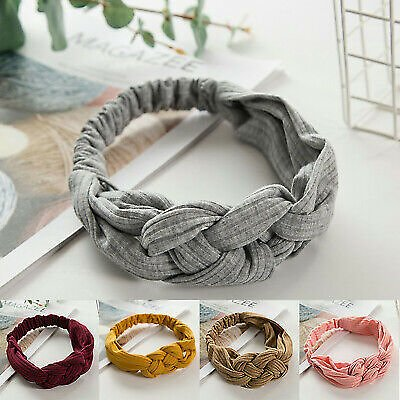 Hair Band Twist Turban Headband Women Cotton Twisted Knot Wide Knotted Head Wrap