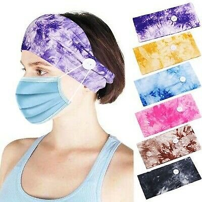 Button Headband for Nurses Women Sports Workout Turban Head Wrap Hair Band Yoga