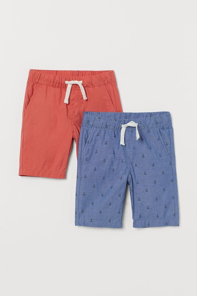 2-pack Cotton Shorts - Steel Blue/anchors - | H&M US