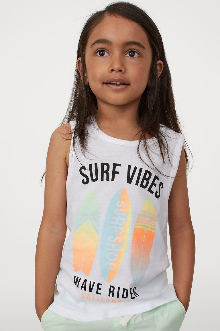 Tank Top with Printed Design - White/surfboards - Kids   H&M US