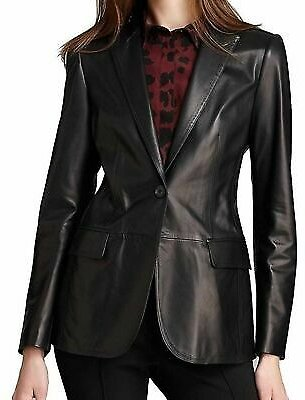 Women's Genuine Lambskin Leather Blazer Real Coat Jacket Slim Fit Soft - AUWB006