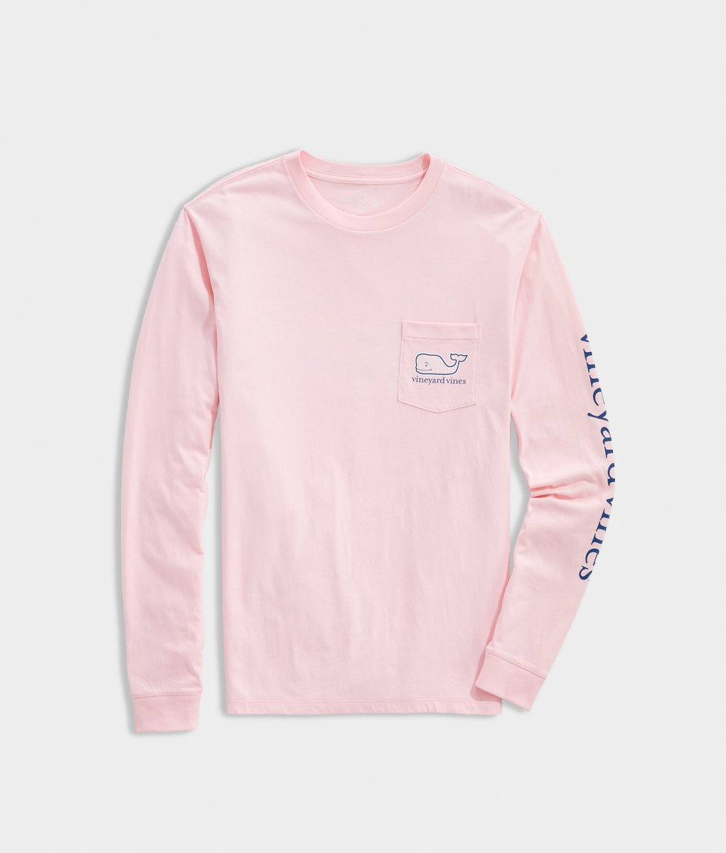 Adult 2020 Breast Cancer Awareness Whale Long-Sleeve Pocket Tee