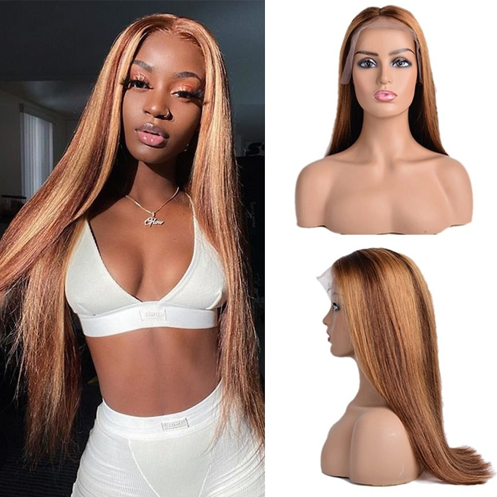 Lace Front Human Hair Wigs Honey Blonde Wig Ombre 100%Human Hair Wig13x4 Brazilian Straight Highlight Lace Frontal Wig for Women
