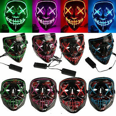 Halloween LED Glow Mask PVC Light Up The Purge Cosplay Costume Mask Party Decors