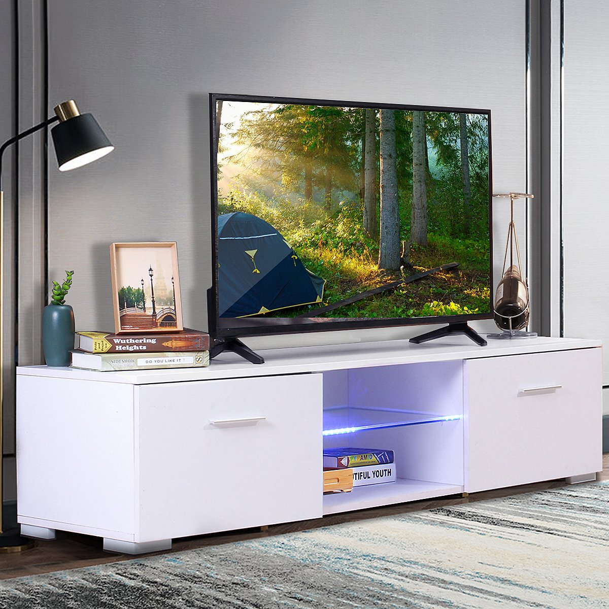 Modern TV Stand for TVs Up to 55'', High Gloss TV Cabinet W/RGB LED Backlights, 2 Open Shelves and 2 Storage Drawers - Entertain