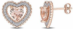 Details About Amour Pink Silver CZ & Created Morganite Heart Earrings