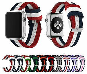 For Apple Watch Series 5 4 3 2 Woven Nylon Stripe Band Strap IWatch 38/42/40/44