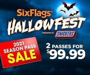 $99 for 2 Six Flags passes for 2020/2021 with unlimited visits + Free Parking & White Water +   bring a friend free