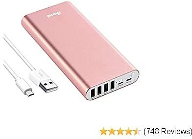 Portable Charger, BONAI 20000mAh Power Bank, 4-Port Output Aluminum Polymer Portable Battery Charger, 4.0A Max Input Compatible with IPhone 11 XR 8 7 6s Galaxy S20 S8 -Rose Gold