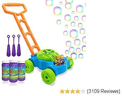 Lydaz Bubble Mower for Toddlers, Kids Bubble Blower Machine Lawn Games, Outdoor Push Toys, Christmas Birthday Gifts for Preschool Baby Boys Girls 1 2 3 4 5 Years Old