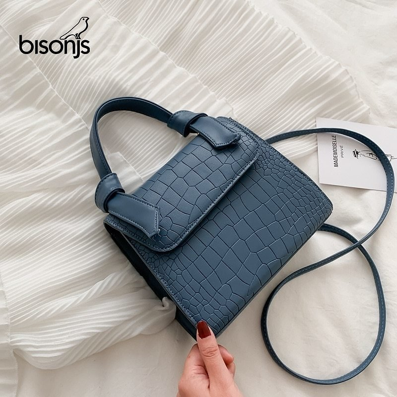 US $10.5 62% OFF|BISONJS Mini Small Square Bags for Women Hand Designer Luxury Brand PU Leather Shoulder Bag Work Lady Stone Pattern 2020 Purse|Top-Handle Bags| - AliExpress